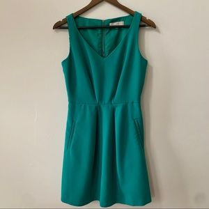 LOFT Teal Fit and Flare Dress